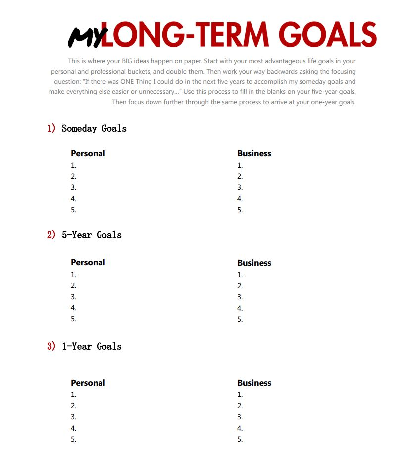 Life goals worksheet pdf